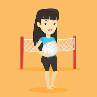Beach volleyball player vector illustration.