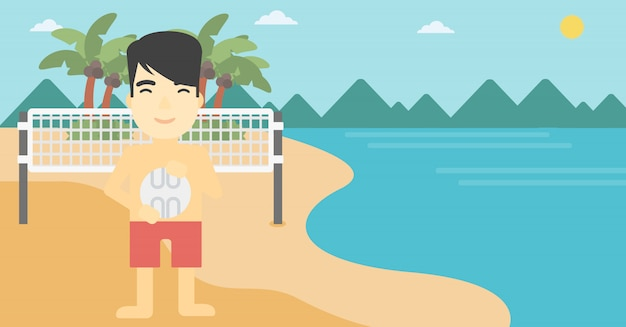 Beach volleyball player vector illustration.