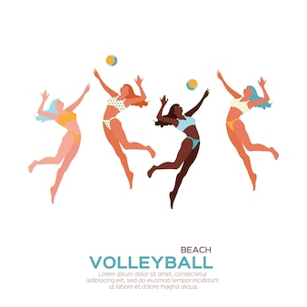 Спортивная игра по пляжному волейболу. смешная молодая женщина с мячом.