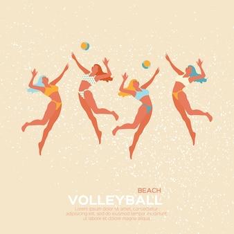 Спортивная игра по пляжному волейболу. молодая женщина с мячом.