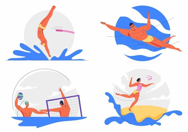 Пляжный волейбол, водное поло, плавание, дайвинг, водные виды спорта, спорт, принимающий участие в олимпийских играх.