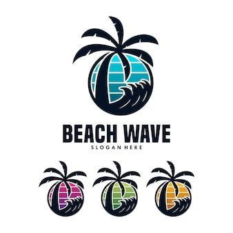 Beach wave logo design template