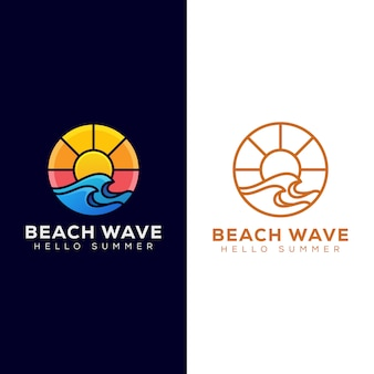 Beach wave with sunrise logo, summer logo design and line art logo version