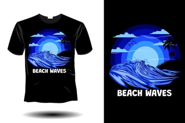 ビーチの波のモックアップレトロなヴィンテージデザイン