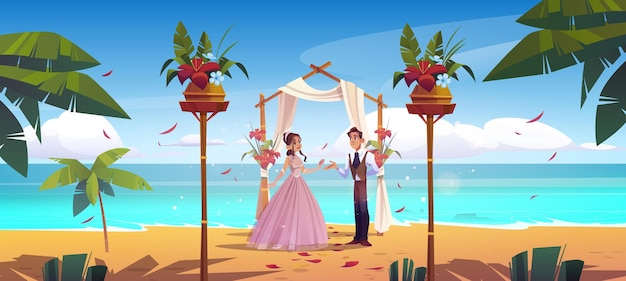 비치 웨딩 신랑 신부 신혼 부부