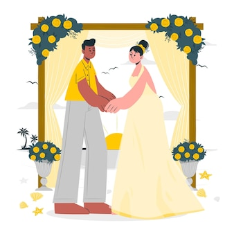 Beach weddingconcept illustration