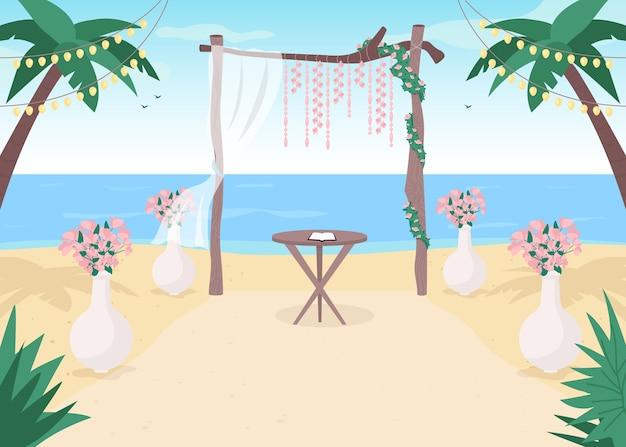 해변 결혼식 평면 컬러 일러스트