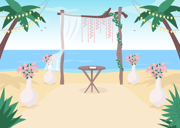 Beach wedding flat color illustration