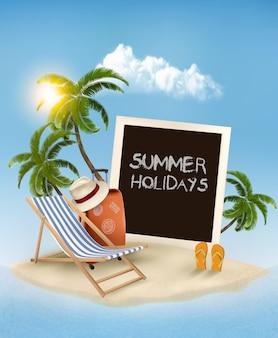 Пляж с пальмой, фотографией и шезлонгом. предпосылка концепции летних каникул.