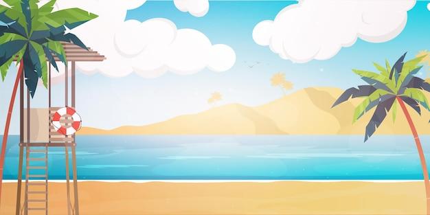 レスキューポストのあるビーチ