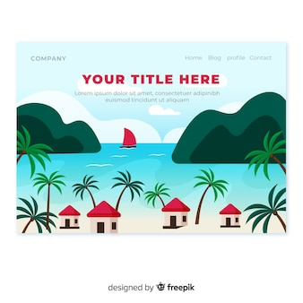 Beach with cabins landing page