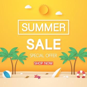 코코넛 나무와 여름 물건이 있는 해변 종이 예술 스타일의 판매 배너