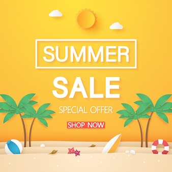 Beach with coconut tree and summer stuff for sale banner in paper art style