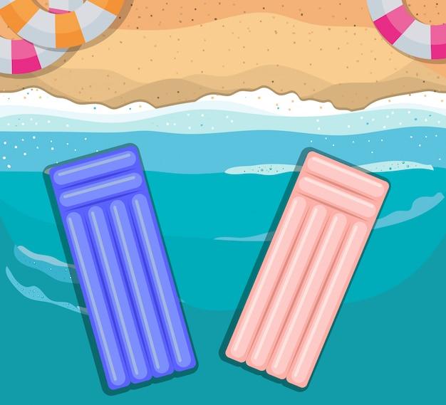 Пляж с дизайном вида сверху поплавки, летние каникулы