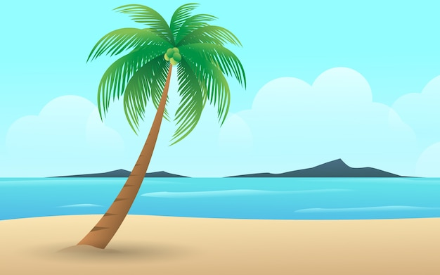 Beach with the landscape view in summer holiday of tropical island palm tree vector design