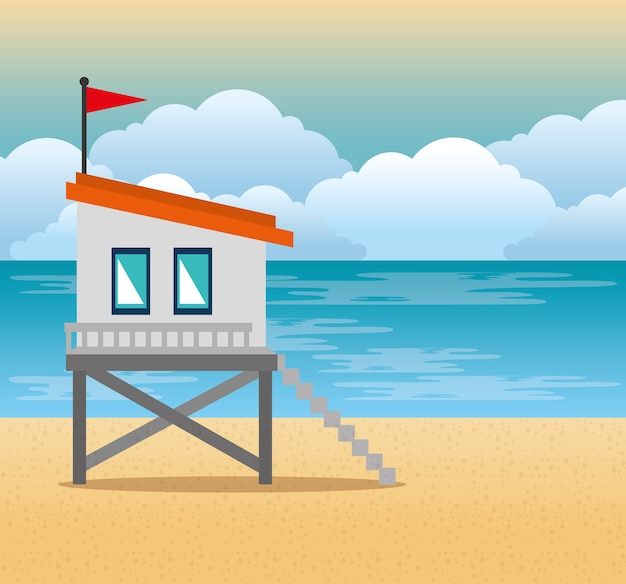 Beach with lifeguard tower scene vector illustration design