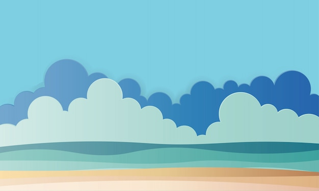 Beach with ocean background paper art style illustration