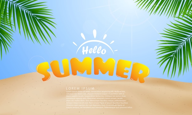 The beach with palm tree leaves together with the calligraphic summer background design