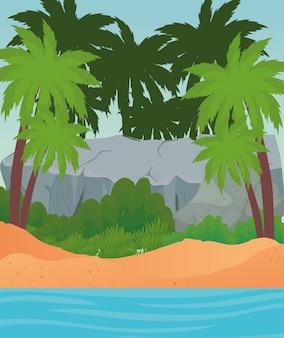 Пляж с пальмами, скала и море, летний отдых, тропический отдых, отдых на природе, туризм, расслабляющий образ жизни и рай