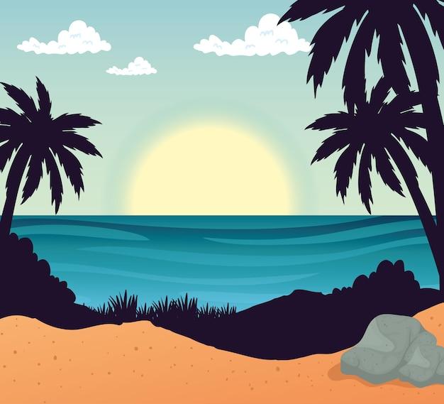 Пляж с пальмами, камнями и морским дизайном, летние каникулы, тропический отдых, отдых на природе, туризм, расслабляющий образ жизни и рай