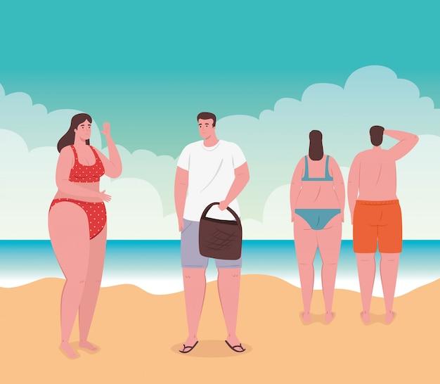 사람들과 해변, 해변에서 그룹 사람들, 여름 휴가 및 관광 개념