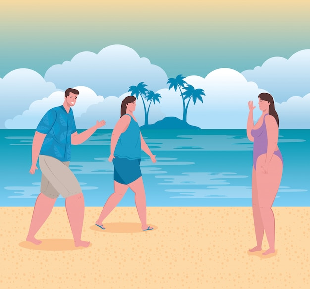 해변, 여름 휴가 및 관광 개념에 사람들, 여자와 남자와 해변