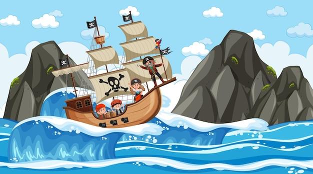 Пляж с пиратским кораблем в дневное время в мультяшном стиле