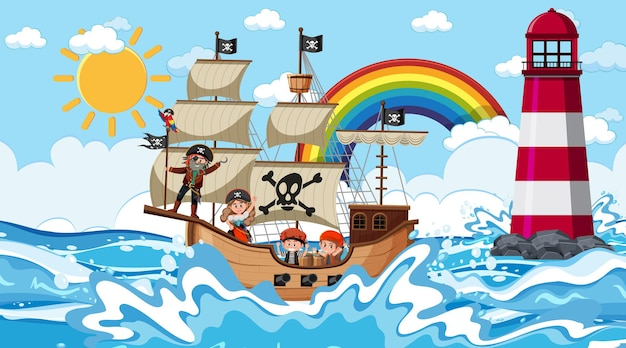 漫画風の昼間のシーンで海賊船とビーチ