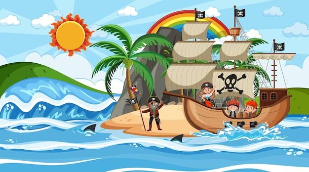 만화 스타일의 낮 장면에서 해적선과 해변
