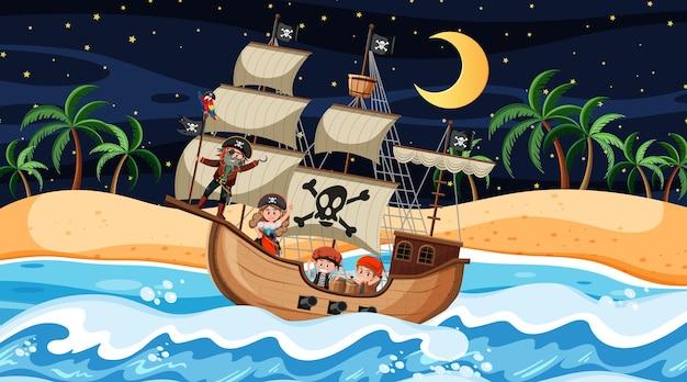 Пляж с пиратским кораблем на ночной сцене в мультяшном стиле