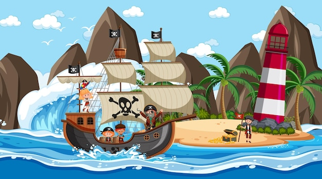 Beach with pirate ship at daytime scene in cartoon style
