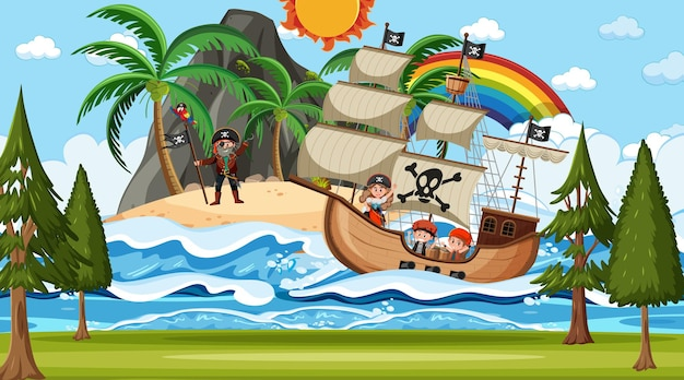 Beach with pirate ship at night scene in cartoon style