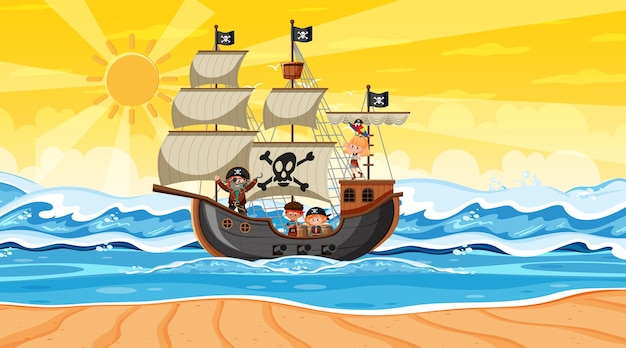 Beach with pirate ship at sunset scene in cartoon style