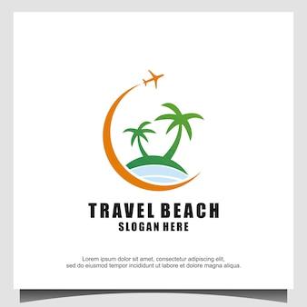 Beach with plane island palm tree logo design illustration