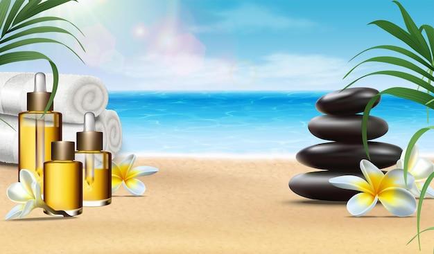 모래 돌, frangipani 꽃, 마사지용 오일이 있는 해변