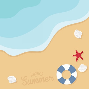 Beach with shells, starfishes and life buoy illustration