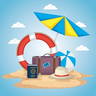 Beach with summer holidays icons vector illustration design