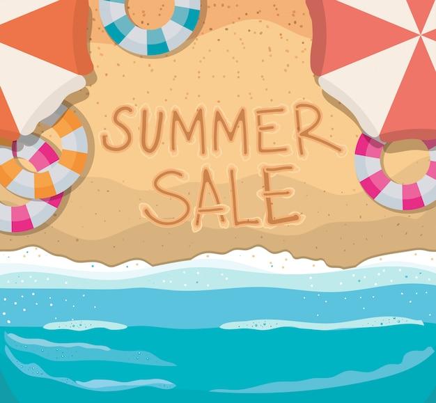 여름 세일 텍스트 상위 뷰 디자인, 여름 휴가와 해변
