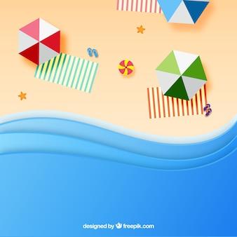 Spiaggia con vista dall'alto in stile carta
