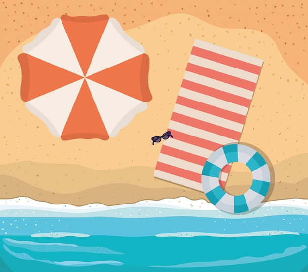 Beach with towel umbrella and float top view vector design
