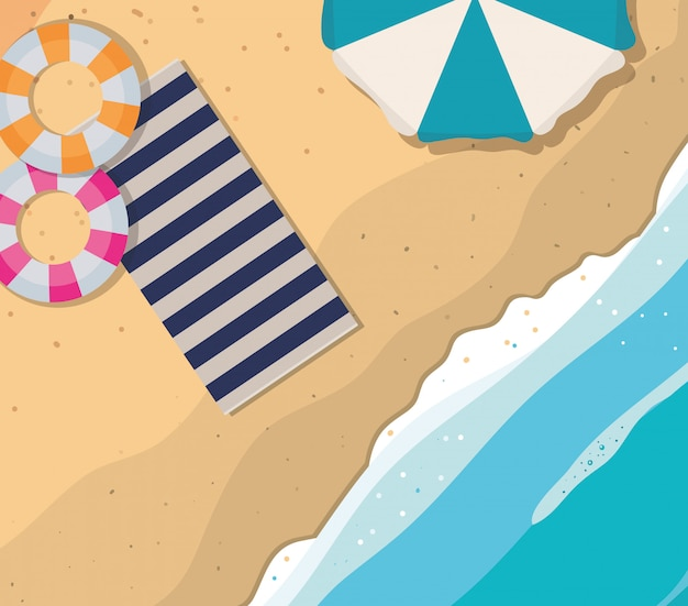 Beach with towel umbrella and floats top view vector design