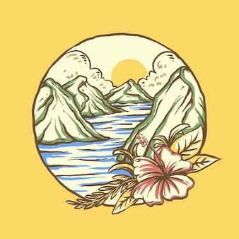 열 대 꽃과 해변