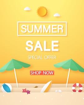 종이 예술 스타일의 판매 배너에 대한 우산 해변과 여름 물건이 있는 해변