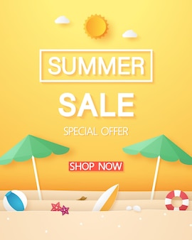Beach with umbrella beach and summer stuff for sale banner in paper art style