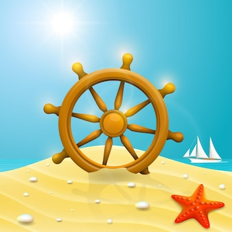 Beach with wheel of the ship. vector illustration
