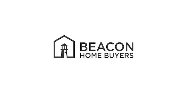 ビーコンと家のロゴのデザインテンプレート