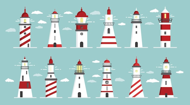 Набор иконок маяка иллюстрации шаржа