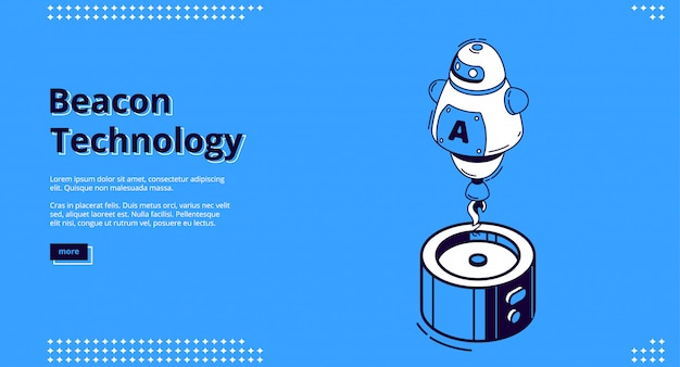 Beacon technology isometric banner with robot