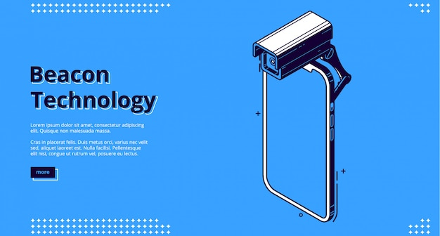 Beacon technology isometric banner with smartphone