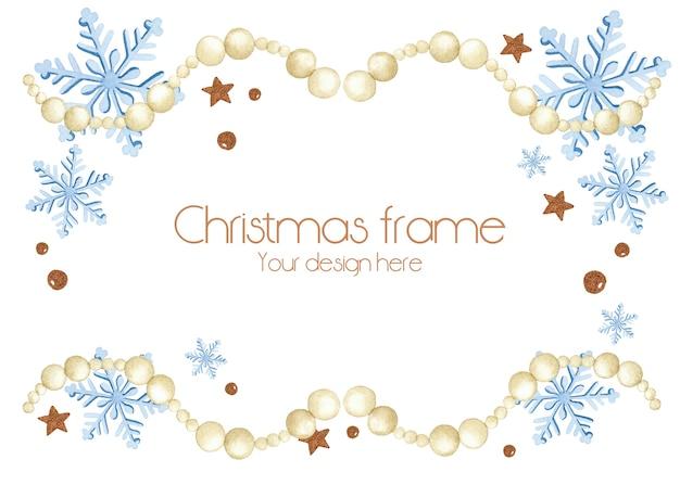 ビーズガーランドクリスマスフレーム雪片要素水彩で白い背景
